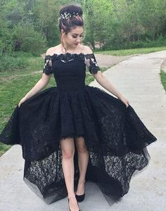 Off the Shoulder Short Sleeves Black Lace High High Low Prom Dresses bc2123646ea7