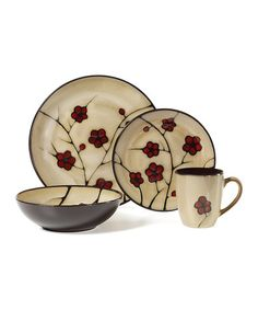 Another great find on #zulily! Red Leaves 16-Piece Dining Set by Pfaltzgraff #zulilyfinds