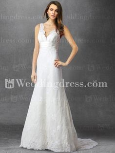 $159 Lace wedding dress features a winsome V-neckline with scallop-shaped edge. Subtly pleated waist sash makes this entire look trendy and fresh. This long simple dress is dramatic and timeless.