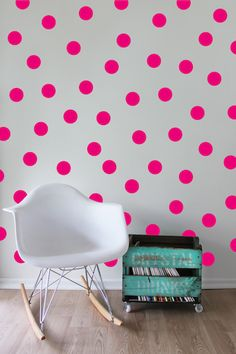 Hot Pink Dots Wall Decal by Speckled House! Add some gorgeous, vibrant colour and magic to your any room of the house with this stylish hot pink dots removable wall sticker set! OR use these to help create the perfect atmosphere at your next event and add these to the wall behind your dessert table - the possibilities are endless! Once the party is over simply peel them off and apply to another wall in the house. #designerkids #nursery #playroom #walldecal #walldecor #littlebooteek