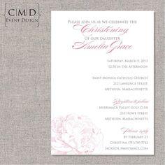 Peony Christening or Baptism Invitation- PRINTABLE DIGITAL FILE