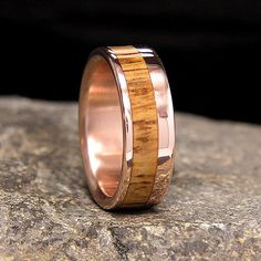 Used Jack Daniel Distillery Whiskey Barrel Wood Red Bronze Offset Inlay Wedding Band Or Ring
