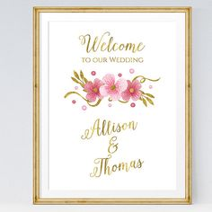 Printable Wedding Welcome Sign, white and gold, Watercolor flowers von ExklusivePapeterie