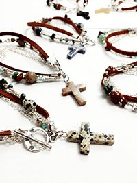 Rustic bracelets with stone cross dangle, by Erica Bapst for Adorn Jewelry and Accessories, Canandaigua NY