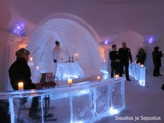 Getting married in an ice chapel in Finnish Lapland.