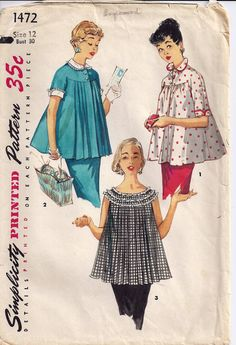 Simplicity 1472 Vintage Sewing Pattern 1955 Size 12 Bust 30 Maternity Tops Detachable Collar and Cuffs. $5.99, via Etsy.
