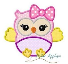 Baby Girl Owl Applique - 3 Sizes! | What's New | Machine Embroidery Designs | SWAKembroidery.com Dollar Applique