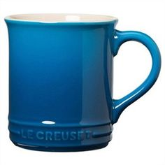 {Rustic Mug Marseille} By Le Creuset, this is one solid mug. The blue is just lovely and goes great with all my blue kitchenware. Chocolate Apples, Hot Chocolate, Le Creuset Mugs, Rustic Mugs, Kitchenware, Tableware, Blue Cups, Christmas Gift Baskets, Novelty Mugs