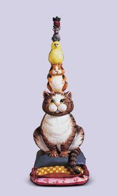 Comic Curious Cats Balancing Act Figurine