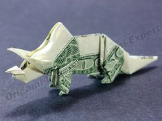 Money Dollar Origami TRICERATOPS Figure Jurassic Dinosaur Art Model Real $1 Bill