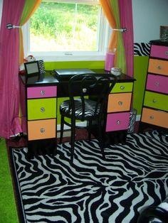 Zebra, Hot pink, Lime green, Orange, Bedroom