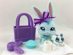 Littlest Pet Shop RARE Pale Blue Bunny #1685 w/Teensie & Accessories HTF! #Hasbro