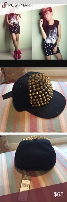 BCBG Gold Studded Hat New with tags. BCBG black baseball cap adorned with gold spikes. BCBGMaxAzria Accessories Hats