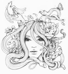By Degefors Medusa Tattoo Design Justchrishere Haircut