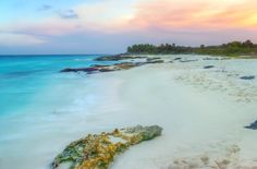 White sand beaches and sunsets