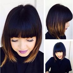 55 Inventive Brown Ombre Hair Ideas — Spice Up Your Hair - 55 Inventive Brown Ombre Hair Ideas — Spice Up Your Hair 55 Inventive Brown Ombre Hair Ideas — Spice Up Your Hair Ombre Hair With Fringe, Ombre Bob Hair, Brown Ombre Hair, Ombre Hair Color, Ombre Bob With Bangs, Angled Bob Hairstyles, Bob Hairstyles For Fine Hair, Pretty Hairstyles, Autum Hair