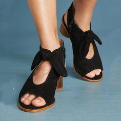 1dfb44079b8f6 Plus Size Bow Peep Toe Heels Zipper Chunky Heel Booties Tacones