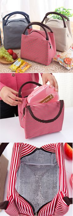SaicleHome Oxford Waterproof Lunch Tote Bag Cooler Insulated Handbag Zipper Storage Containers