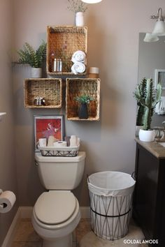 Smart And Easy Bathroom Storage Ideas Simple and rustic decor for the guest bathroom. - Smart And Easy Bathroom Storage Ideas Simple and rustic decor for the guest bathroom. Diy Bathroom Storage, Shelves, Small Bathroom Decor, Small Bathroom, Apartment Decor, Simple Bathroom, Home Diy, Bathroom Design, Bathroom Decor