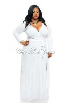 White Wrap Dress Plus Size | Outlet Plus Size Long Wrap Dress with Tie in White 1x 2x 3x | Fashion .... Another dress for Opal from David as a gift!