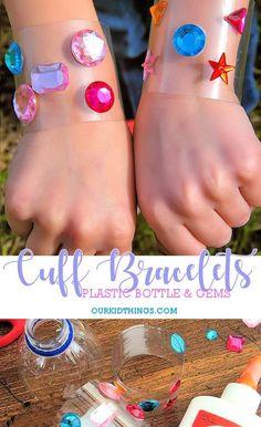 Plastic Bottle Superhero Cuff Bracelets Craft #kidscraft #superhero #wonderwoman #bracelet