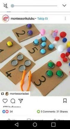 Mathe lernen brin – # maths … – # maths - Old School Toddler Learning Activities, Montessori Activities, Kindergarten Activities, Preschool Activities, Activities For Kids, Maria Montessori, Baby Crafts, Toddler Crafts, Crafts For Kids