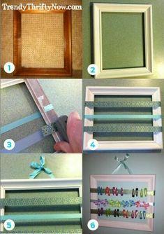 Crea un práctico organizador de broches, moños o lazos usando un arco de fotos. Mantén ordenados, limpios y a la mano todos estos accesorio...