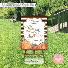 Large Wedding Welcome Signs - Fall Pumpkins  Welcome your guests to your big day with this beautiful printable 16x20 large format sign! This listing is for a digital file(s) of design shown only. Digital file: you print on your own paper, saving you both time and – the best part - money!  *****Please note that this listing is for a digital file only. No physical items are sent to you. *****   ♥ ORDERING PROCESS ♥  Please note that the graphics in this design cannot be changed.  When making…