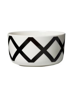 A geometric motif from Carina Seth Andersson's Spaljé (Espalier) pattern wraps around this white stoneware bowl. It's dishwasher, microwave, and freezer safe; glazed colors and pattern remain vibrant. Marimekko, Dark Grey Color, New Print, Bold Prints, Dog Accessories, Textile Design, Fashion Prints, Stoneware, Cuff Bracelets