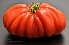 ribbed tomato by tatulya  IFTTT 500px beautiful beauty closeup color food fresh green healthy natural plant red tomato