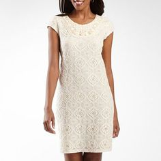 Studio 1® Embroidered Lace Dress with Beaded Neck - jcpenney