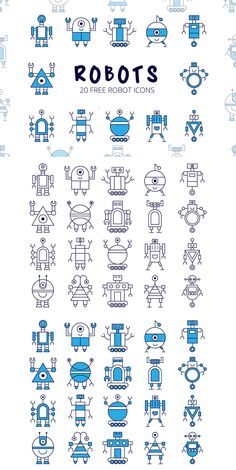 Vector Robot Robot Vector Free Icon Set is a thematic collection of icons. A total of 20 piec… Vector Robot, Vector Icons, Vector Free, Robot Icon, Arte Robot, Robot Design, Icon Design, Flat Design, Game Design