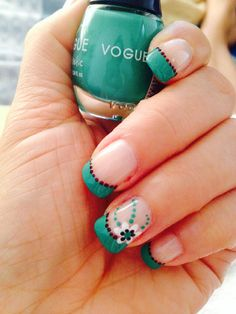 Diseño uñas verde menta #voguefantastic