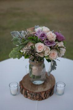 rustic wedding bouquet, dusty miller, blush roses, wood slice, mason jar floral design by Kari Shelton