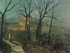 Woman on a Garden Path approaching a Cottage - John Atkinson Grimshaw