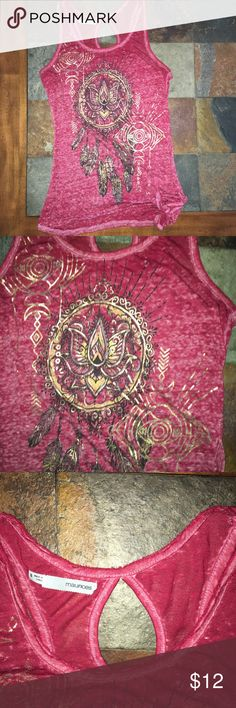 """🖤Red tank from Maurice's Size small, ties in corner. This shirt is super thin, that is how it was when purchased as well as the frayed edges. 15"""" armpit to armpit and 24"""" top to bottom. Open to reasonable offers Maurices Tops Tank Tops"""