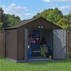 Introducing the EZEE Shed from Arrow Storage Products - a shed that builds in half the time. The EZEE Shed is a galvanized steel shed that is durable and made to last. It features the revolutionary Snap-IT Quick Assembly system that cuts assembly time down by 50% compared to most steel sheds on the market today. The EZEE Shed has a reduced number of fasteners across walls, roof, and doors and there are no more difficult nut/bolt connections - so assembly is faster and easier! The EZEE Sh...