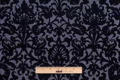 303360 Black Floral Denim and Velvet $14 /yard