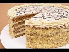 """Tort Esterhazy cu blat de nuca si crema de vanilie"" - YouTube"