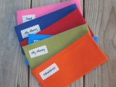 SIX Solid Fabric Cash Envelopes for Paper Currency// Lots of Colors