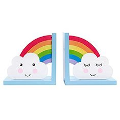Sass & Belle Day Dreams Wooden Bookends - Rainbow/Cloud Set of 2 Rainbow Bedroom, Rainbow Nursery, Rainbow Room Kids, Cloud Bedroom, Kids Bedroom, Childrens Bookends, 3d Sticker, Wooden Bookends, Unicorn Bedroom