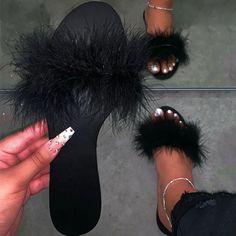 Women Plus Size Feather Open Toe Slip On Flat Heel Slippers – Inspireyoos Bling Sandals, Cute Sandals, Flat Sandals, Fancy Shoes, Cute Shoes, Women's Shoes, Fluffy Shoes, Cute Slippers, Slipper Sandals