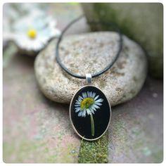 "Blütenschmuck - Kette ""fly daisy"" echtes Gänseblümchen oval - ein Designerstück von Kiezelfen bei DaWanda"