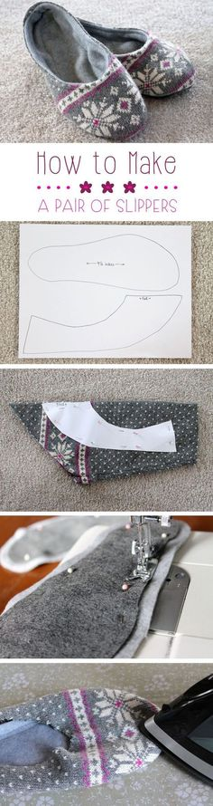 Upcycling has quickly become on our favorites things to do! Transform an old sweater or sweatshirt into these lovely, cozy slippers for around the house...looks easy enough!: