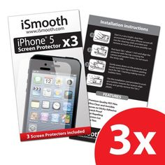 iSmooth iPhone 5 Screen Protector - (3 Pack) - Precision Cutouts and Precision Fit for Your Apple iPhone 5 - Free Lifetime... (bestseller)