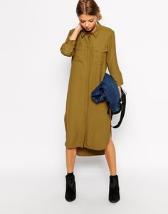 Browse online for the newest ASOS Shirt Dress with Drape Back styles. Shop easier with ASOS' multiple payments and return options (Ts&Cs apply). Dress Skirt, Chemise Fashion, Olive Shirt, Mode Simple, Military Fashion, Modest Fashion, Stylish Outfits, Casual Looks, Stylish Clothes