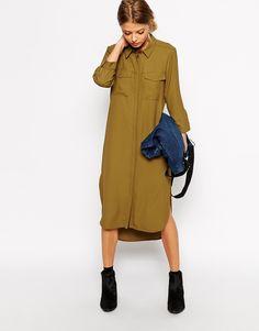 Image 4 of ASOS Shirt Dress with Drape Back