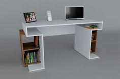 Bureau de travail snake blanc et bois bureau