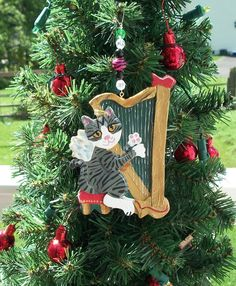 Tabby Angel Cat Playing the Harp ~Hand Made Beaded Clay Ornament