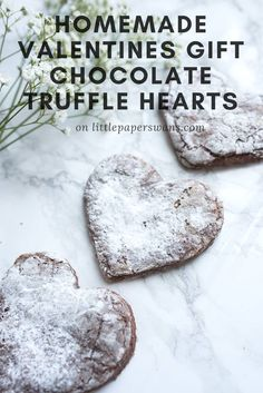 Homemade Valentines gift, chocolate truffle heart cookies. Perfect, quick and simple gift for your loved one.